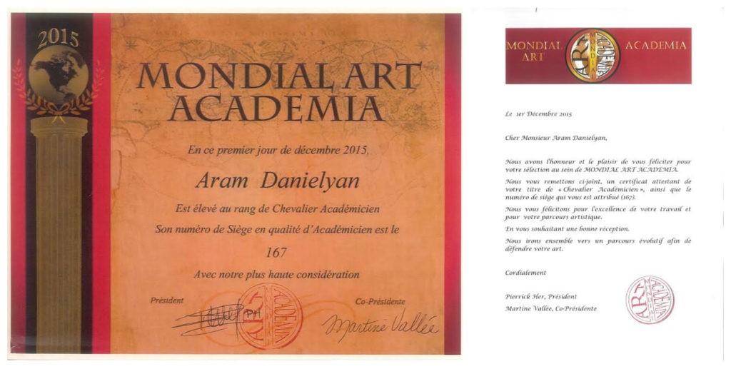 Նկարիչ Արամ Դանիելյանը ստացավ «Ասպետ-ակադեմիկոս»-ի կոչում ֆրանսիական Mondial Art Academia –յի կողմից