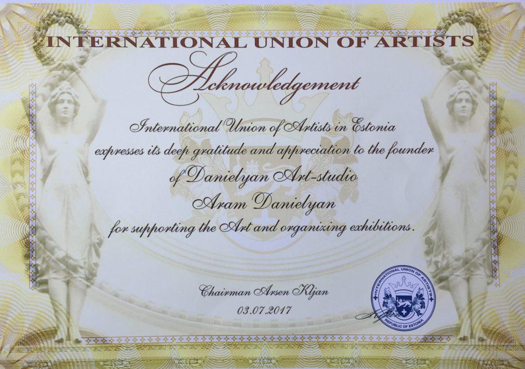 Շնորհակալագիր Արամ Դանիելյանին Էստոնիայի նկարիչների միության նախագահից